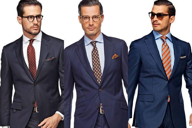 Men S Navy Suit Three Different Shirt Tie Combinations Men