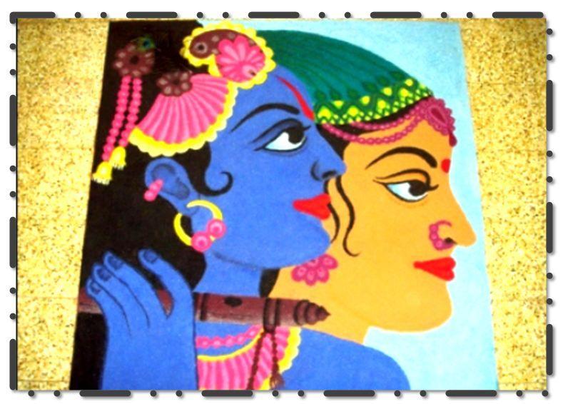 Modern Art Krishna Rangoli Designs Images