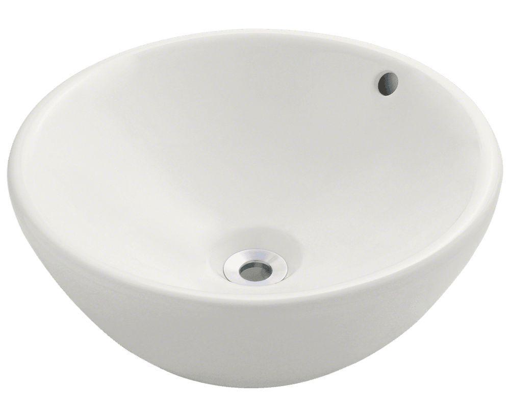 "Polaris 16 1/8"" Porcelain Round Bathroom Vessel Sink - P0022"