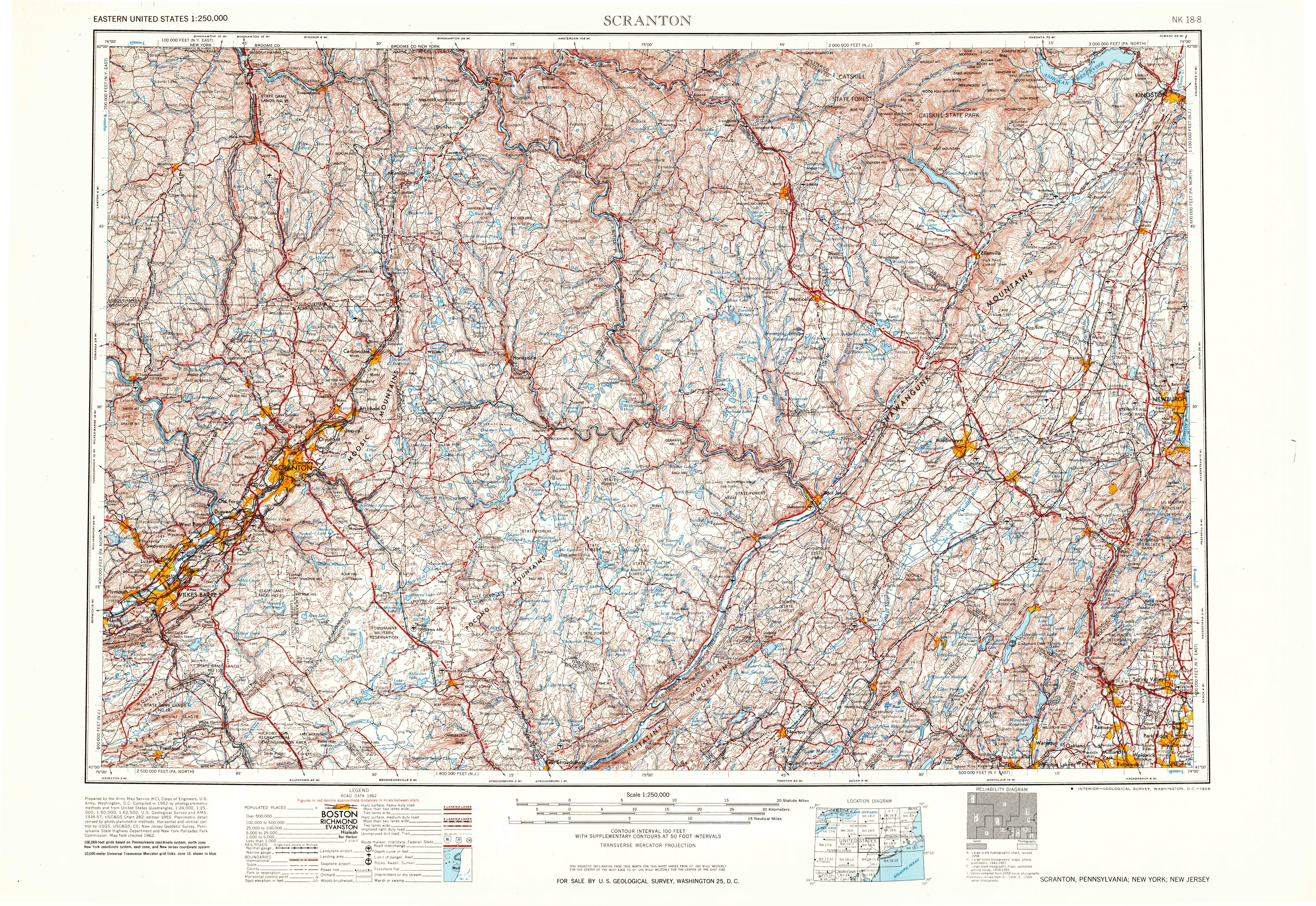 Scranton PA Map From The USGS Historical Topographic Map - Topographic map free download