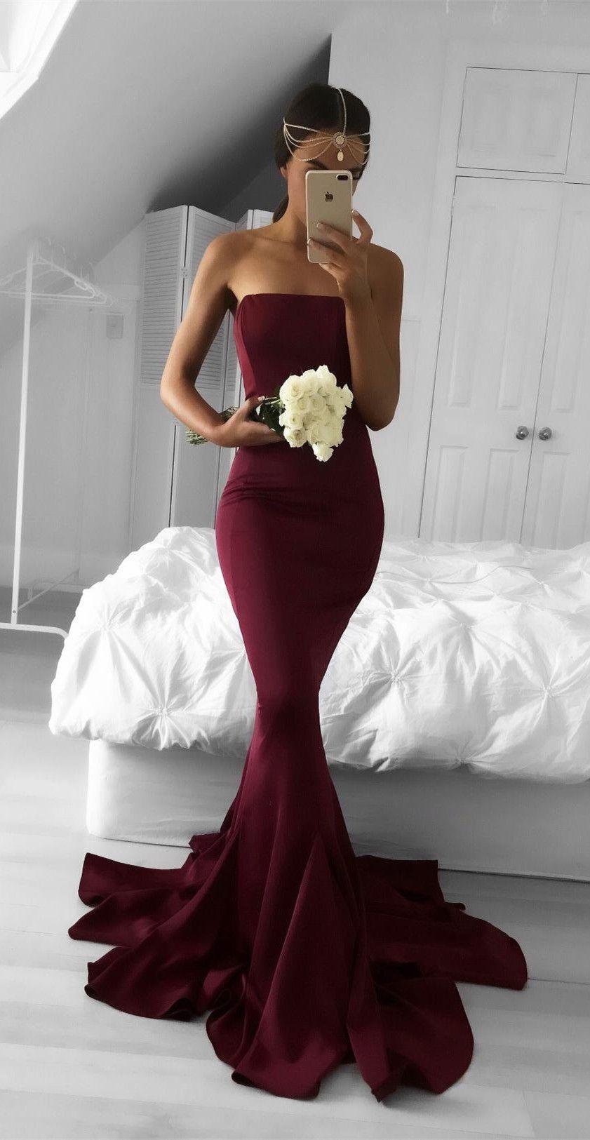 long bridesmaid dress, burgundy bridesmaid dress, mermaid long ...