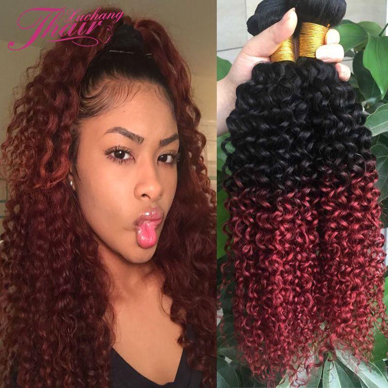 Burgundy Red Ombre Brazilian Hair Weave Brazilian Kinky Curly Virgin