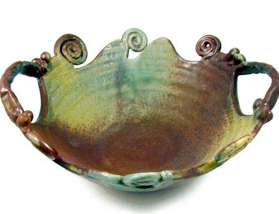 Decorative Ceramic Bowls Decorative Blue Green Ceramic Bowl Ooak  Handmade Pottery  Wheel