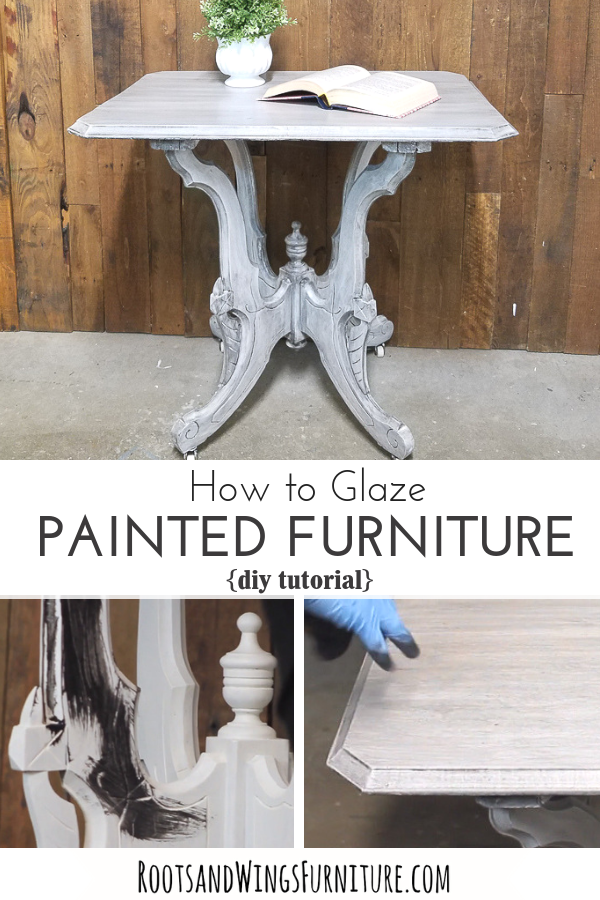 This is the only DIY tutorial you'll need to learn how to glaze painted furniture!  #rootsandwingsfurniture #paintedfurniture #furnitureglaze #DIYtutorial #homedecordiy