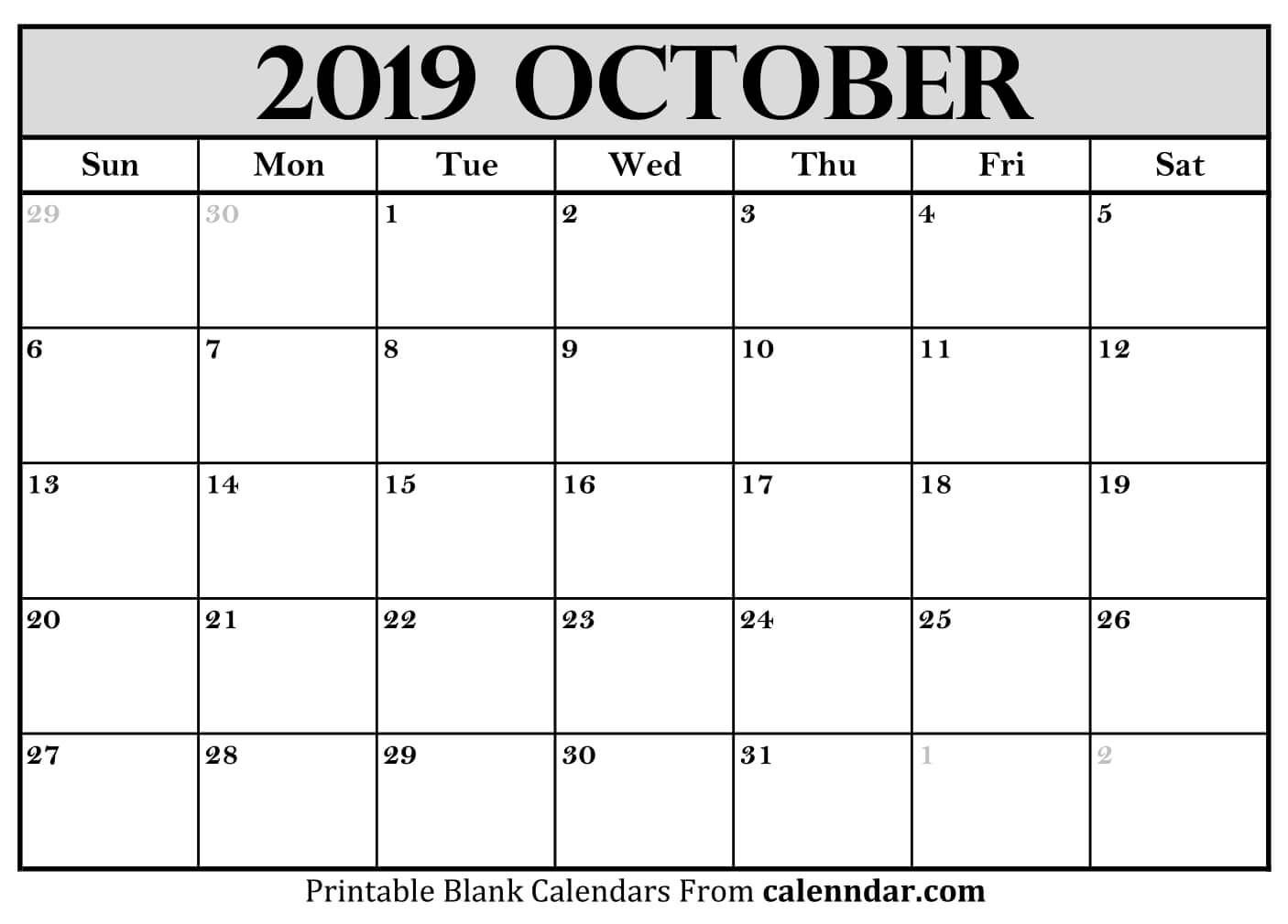 October 2019 Calendar Pdf Word Excel Templates 2019 Calendar
