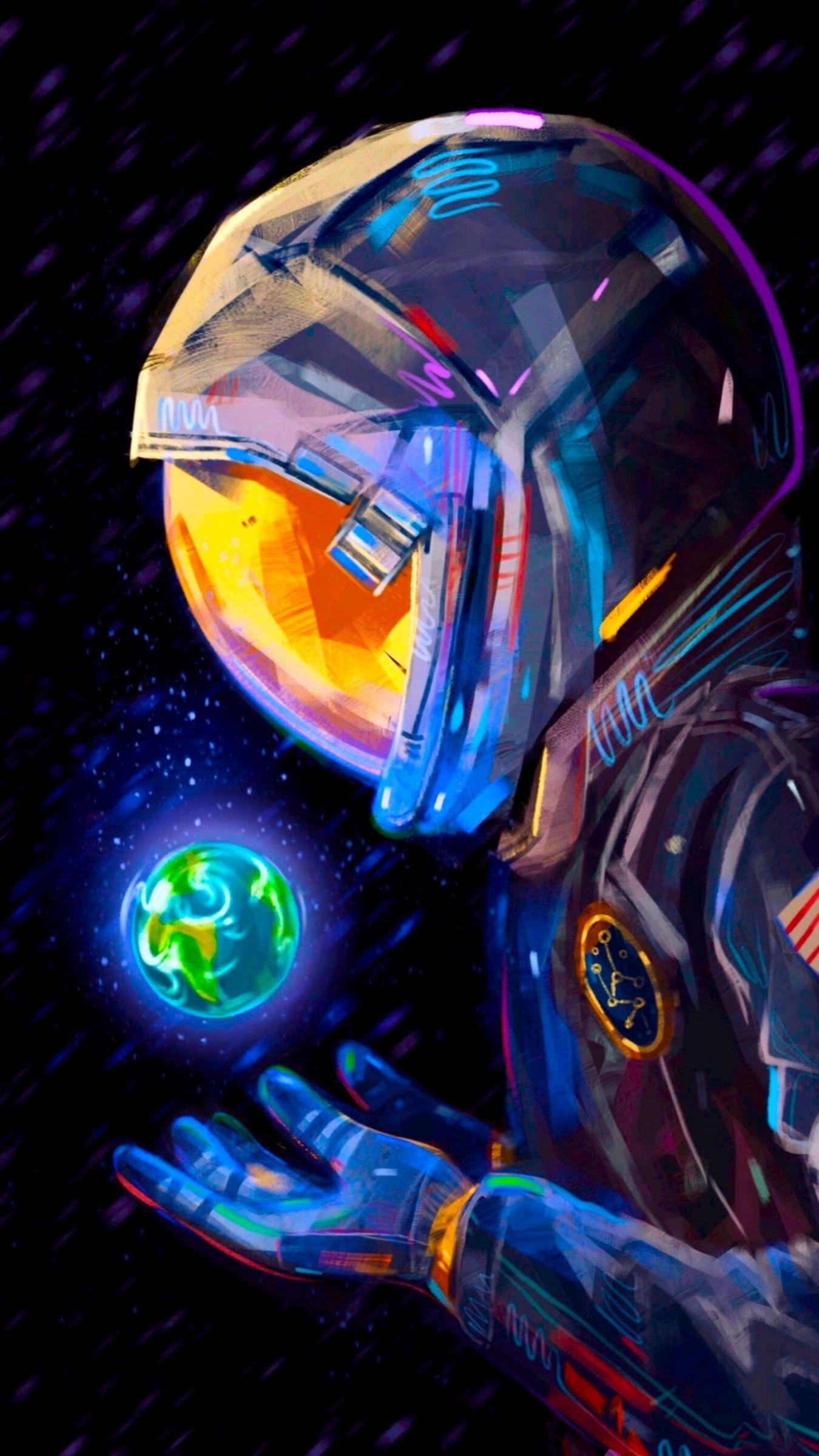 Download 1350x2400 astronaut, spacesuit, earth, planet, art wallpaper