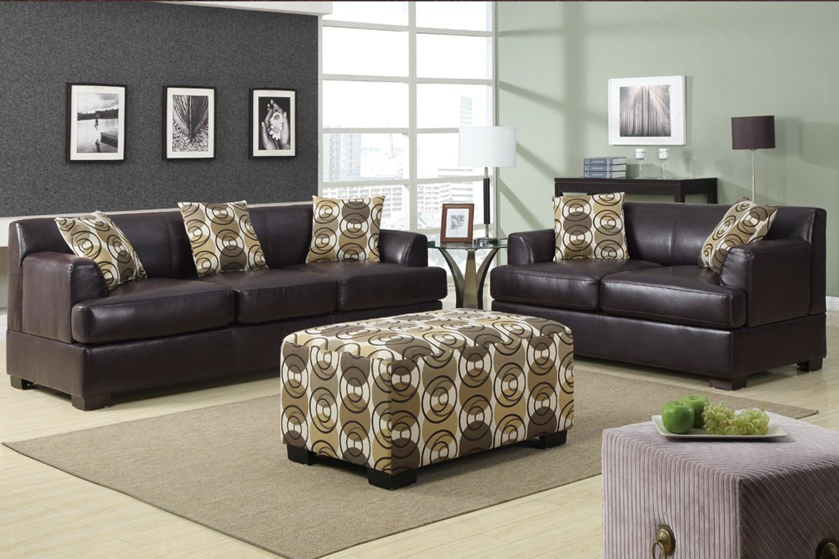 Bonded leather couch set i like the couches not the - Black and brown living room furniture ...