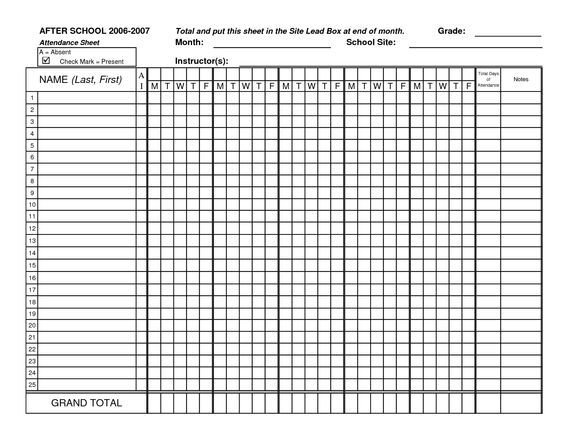 Blank Attendance Sheets Class Attendance Sheets - Get as Excel