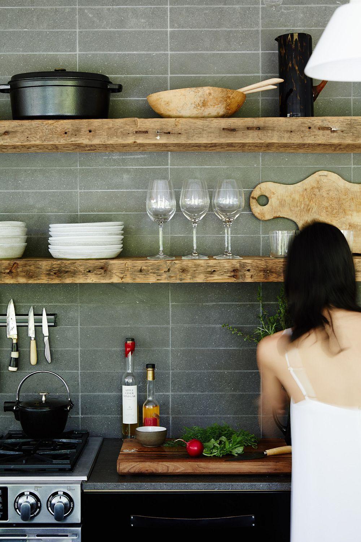 rustic kitchen shelves