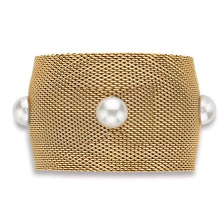 Metal and Simulated Mabe Pearl Cuff Bangle