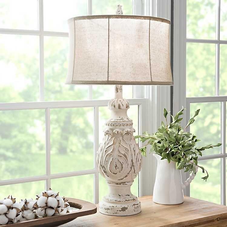 Caroline Distressed Cream Table Lamp Cream table lamps