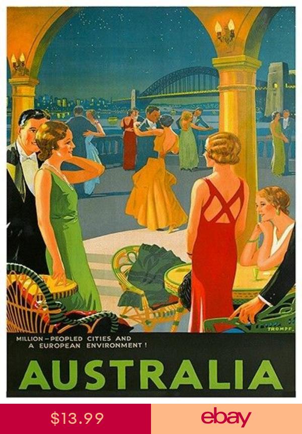 Australia Art Vintage Travel Poster Print 12x16 Rare Hot New Xr300 Vintage Travel Posters Posters Australia Travel Posters