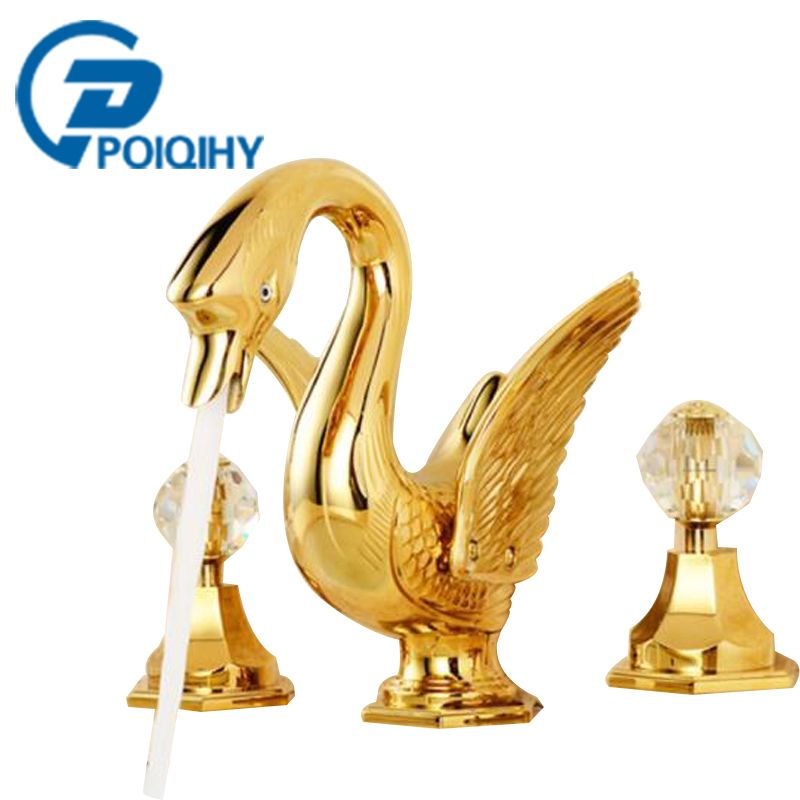 US $285.00] POIQIHY Golden Swan Shape Widespread Basin Faucets Dual ...