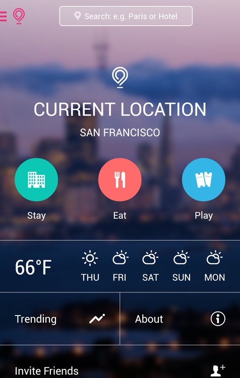 Gogobot android travel homepage search Mobile app design