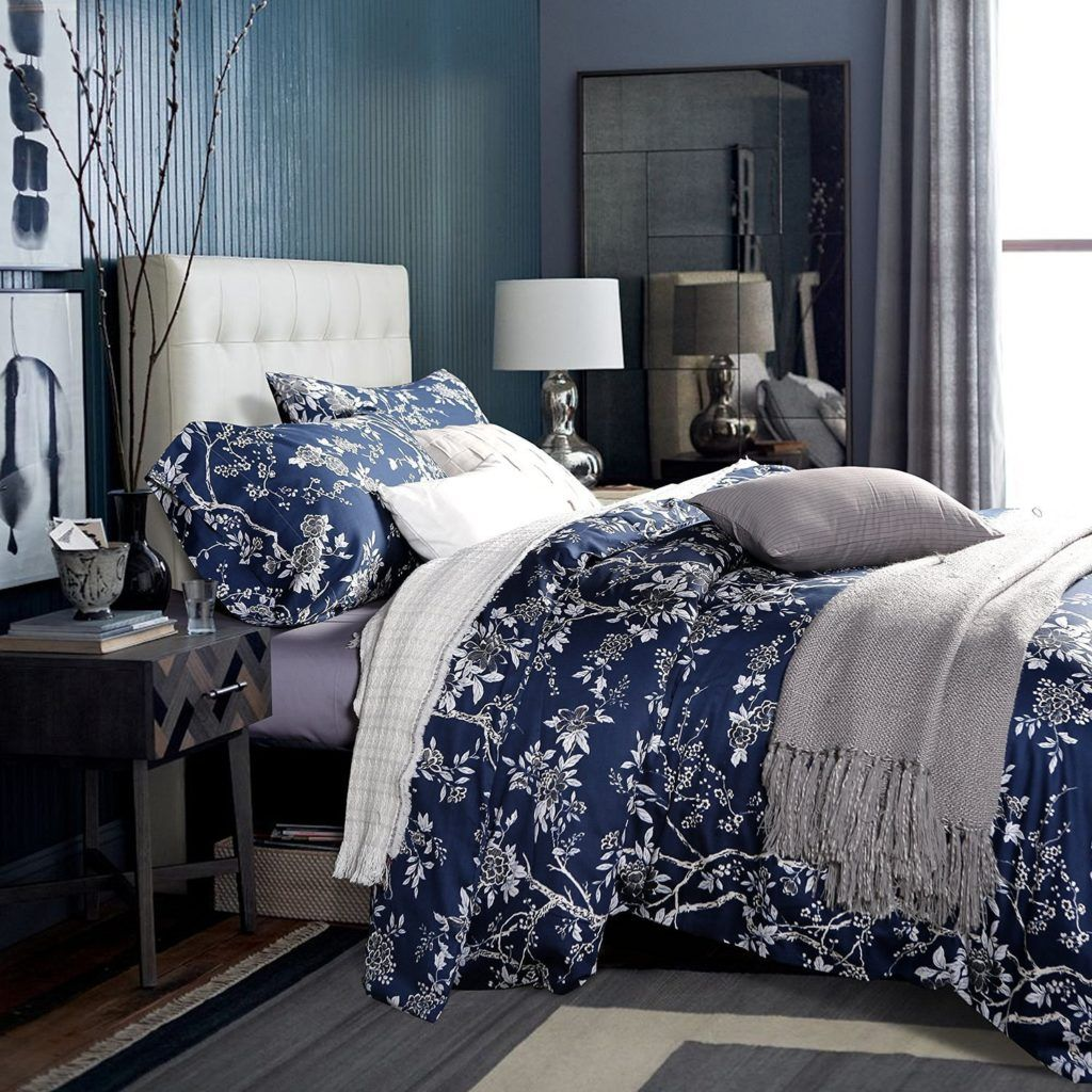 Eastern Floral Chinoiserie Blossom Print Duvet Quilt Cover Navy Blue Tan White Asian Style Botanical Tree Branche Quilted Duvet Navy Blue Bedrooms Blue Bedroom