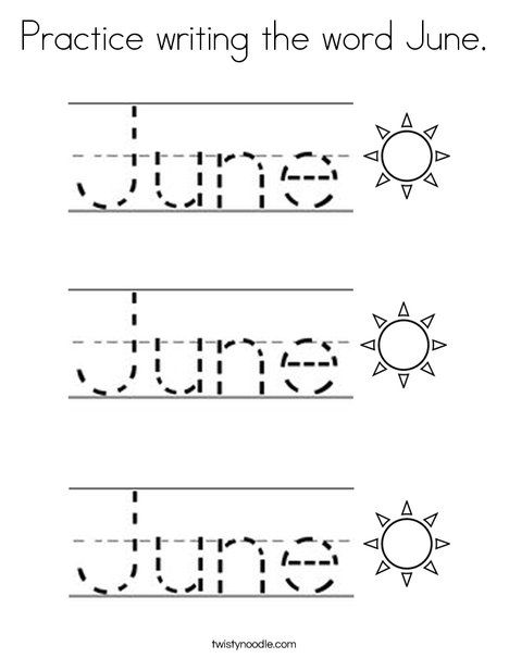 Practice writing the word june coloring page twisty noodle