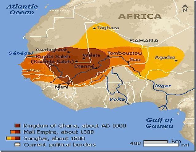 Royaume du Ghana apoge au XIIIe Empire du Mali apoge au XIVe