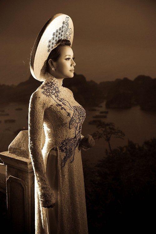 Ao Dai Ren Da - RD730 | Long white dress, Vietnamese