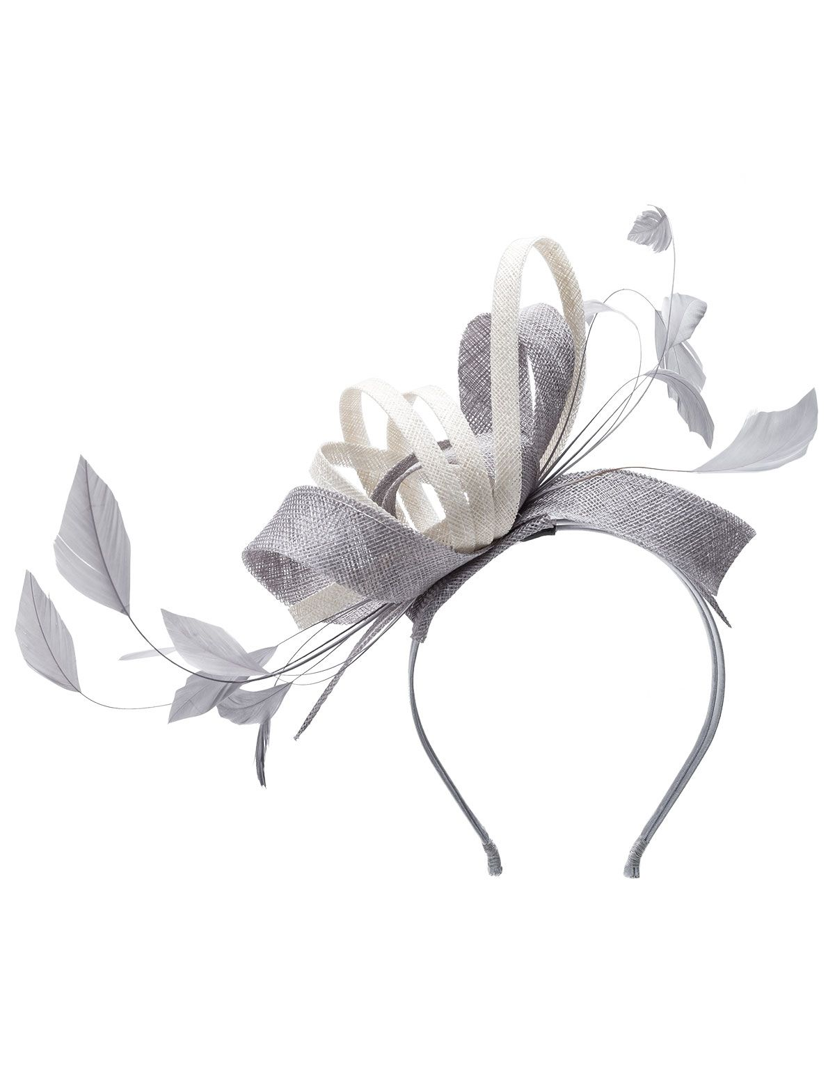 Mascara Two tone feather fascinator in Silver   Ivory-White  a07f38a205e