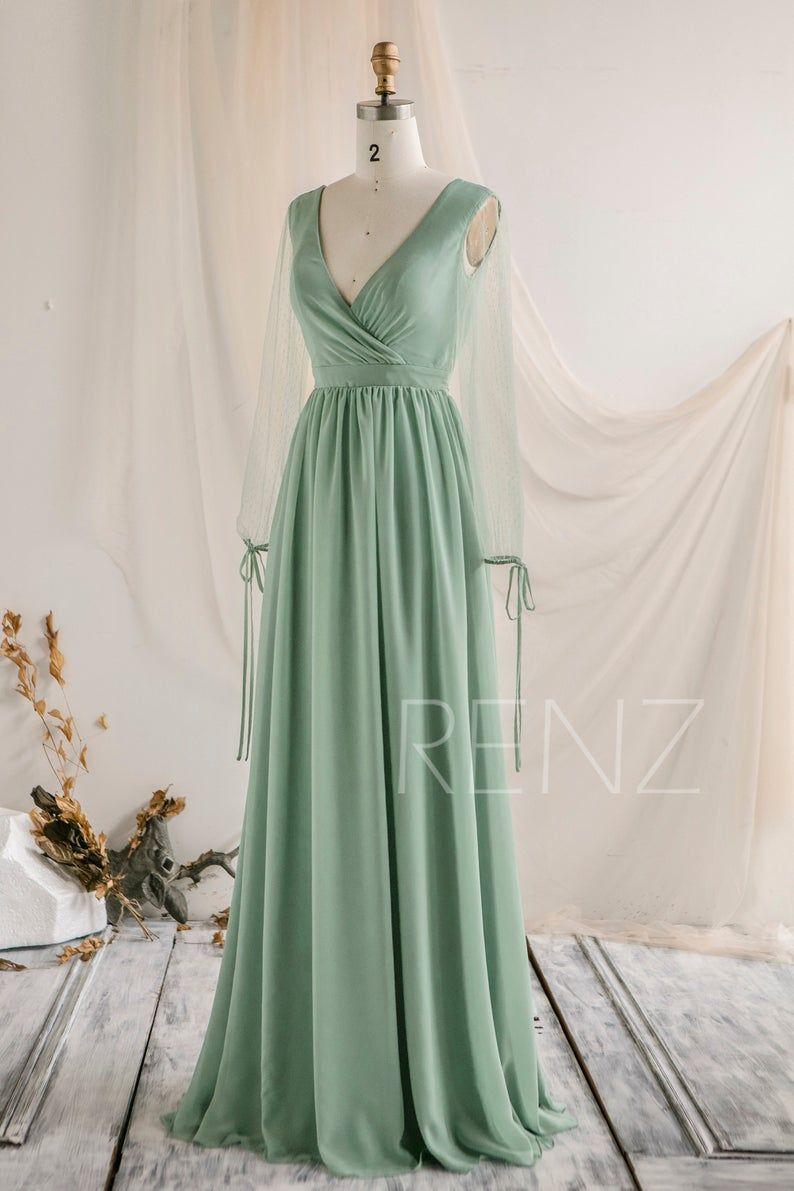 Bridesmaid Dress Light Sage Green Wedding Dress Illusion Tulle Etsy Sage Bridesmaid Dresses Prom Dresses Long With Sleeves Sage Green Bridesmaid Dress [ 1191 x 794 Pixel ]