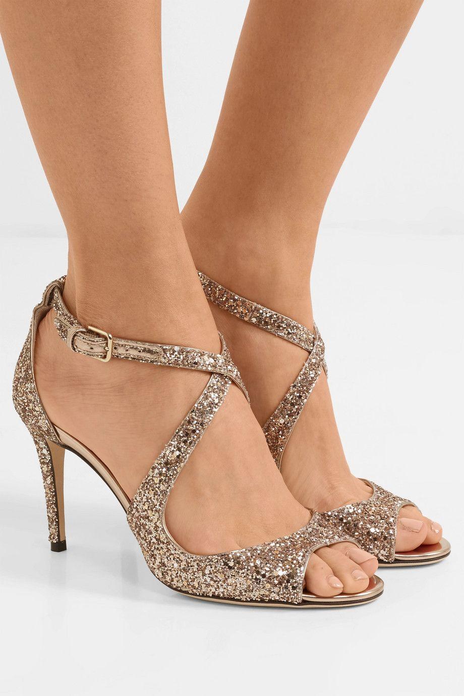 2201aa435aa Jimmy Choo | Emily 85 glittered leather sandals | NET-A-PORTER.COM ...