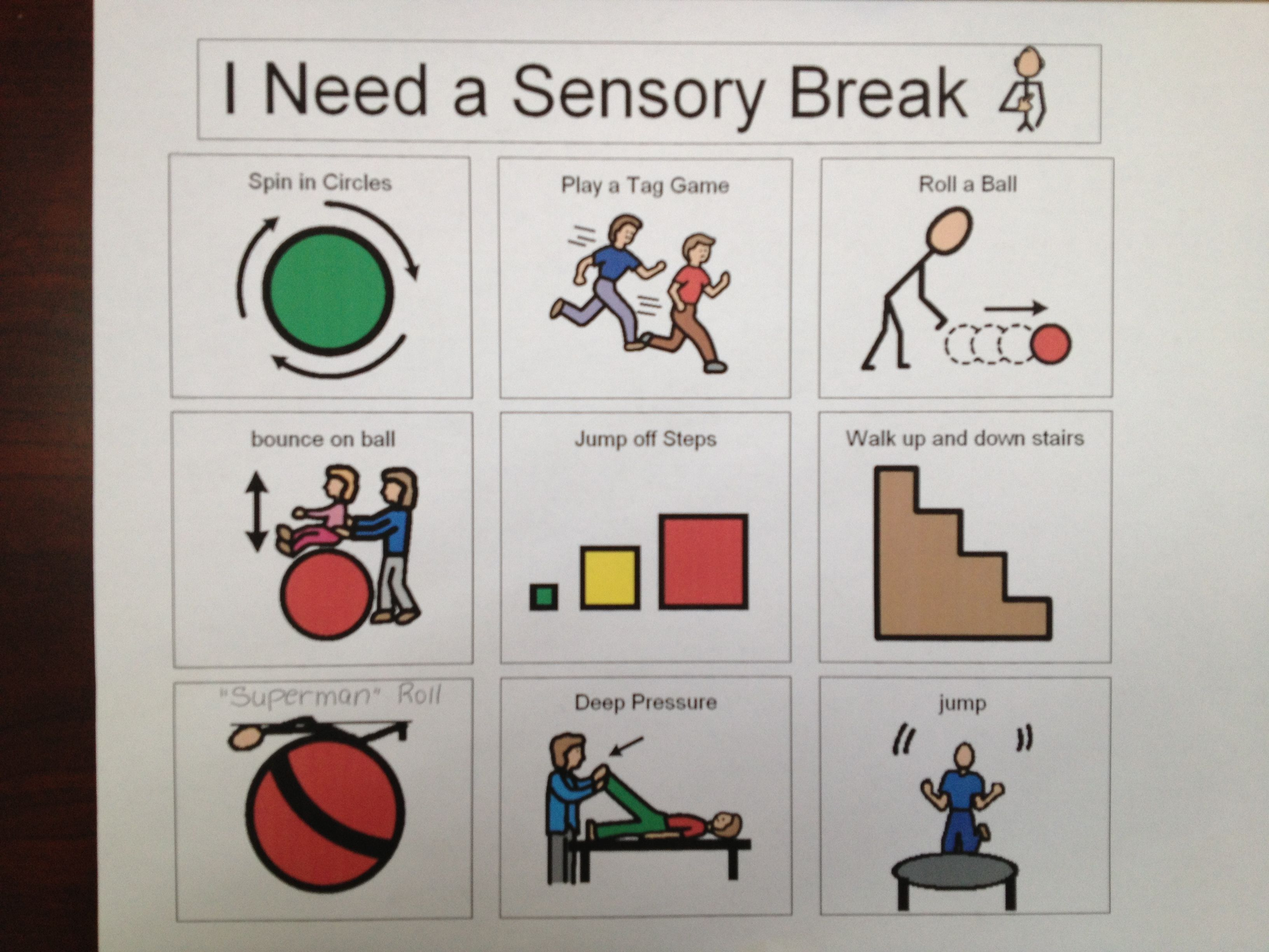 Sensory break visual cards for Autism & Special Needs