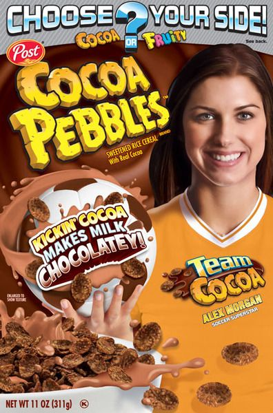New Cocoa Pebbles packaging featuring Alex Morgan  dbbe8700cc