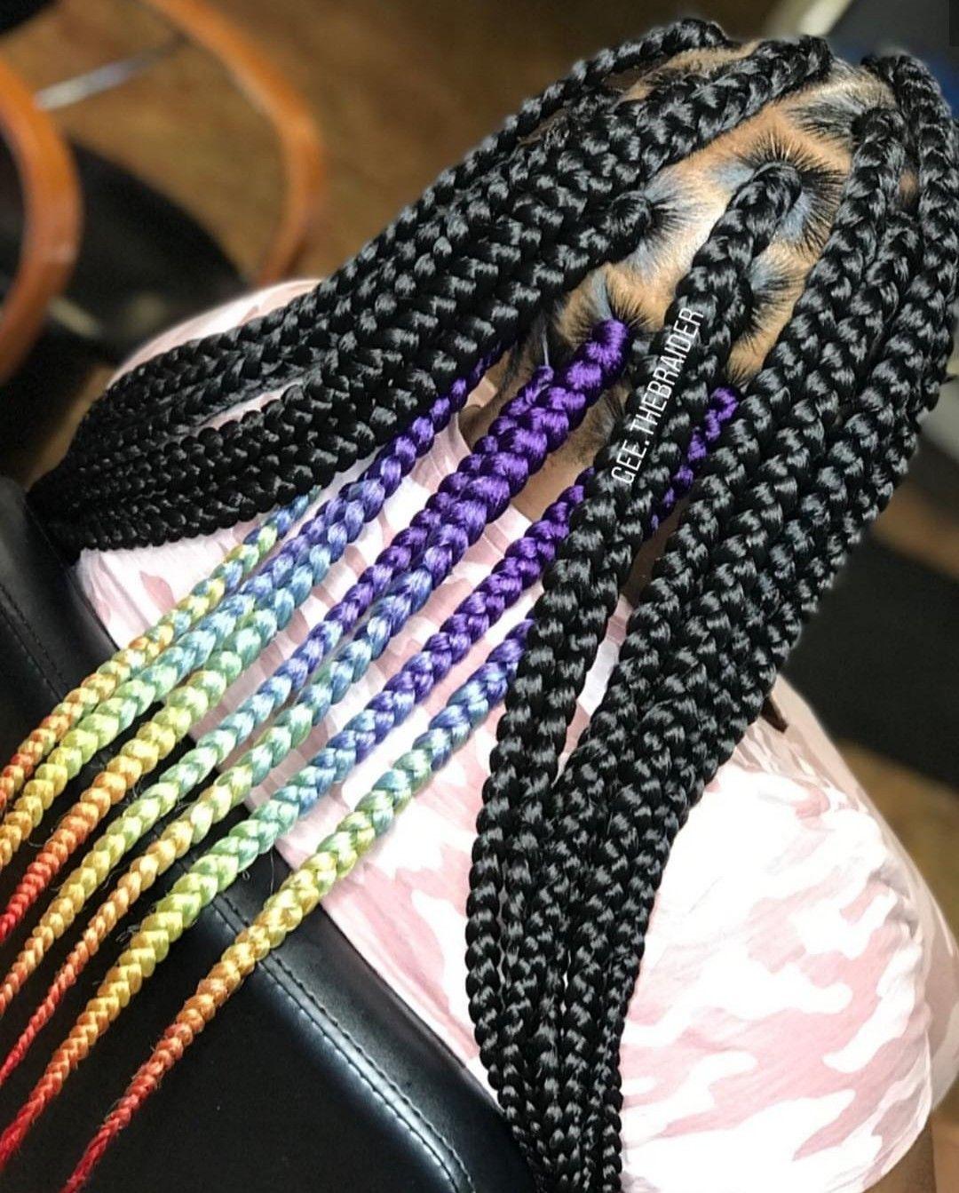 Rainbow Jumbo Box Braids