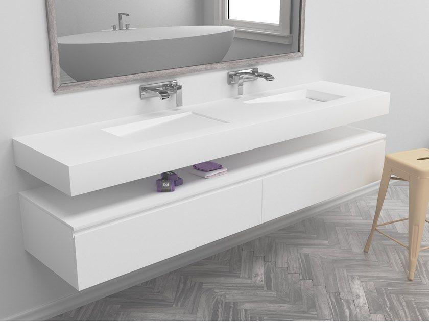 Double Rectangular Wall Mounted Corian Washbasin Corian Bathroom Wash Basin Bathroom Sink Units