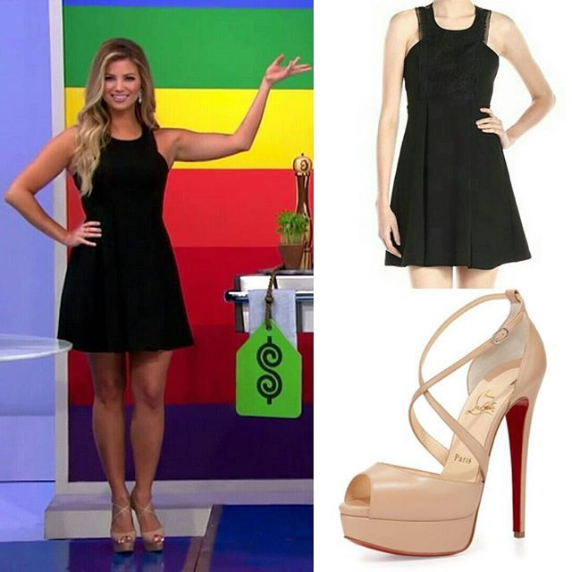 "Look of the Day by @amberlancaster007 1) @bcbgeneration Mock-Neck Lace-Front Dress in Black 👗 2) @louboutinworld ""Cross Me"" Nude Leather Platform Sandals 👠 Air date: 11/16/15 @therealpriceisright #priceisright #tpir #amberlancaster #bcbgeneration #littleblackdress #lbd #christianlouboutin #sandals #lookoftheday"