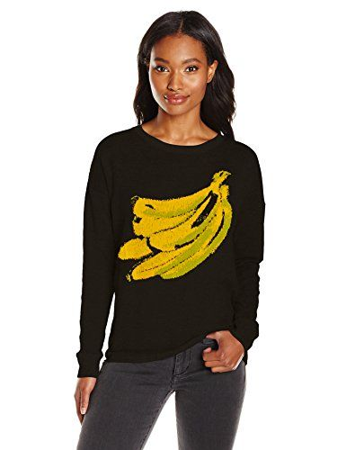 Kensie Womens Soft Cotton Blend Sweater Banana Black Combo XSmall -- Find out more about the great product at the image link.