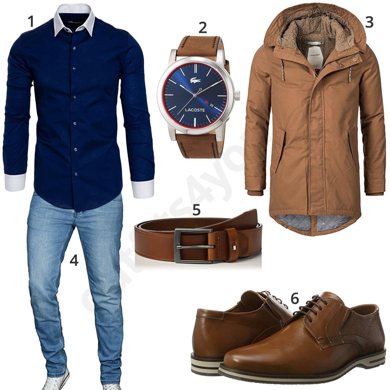 eleganter herren look mit beigebraunen parka outfit f r m nner 2018 pinterest parka outfit. Black Bedroom Furniture Sets. Home Design Ideas