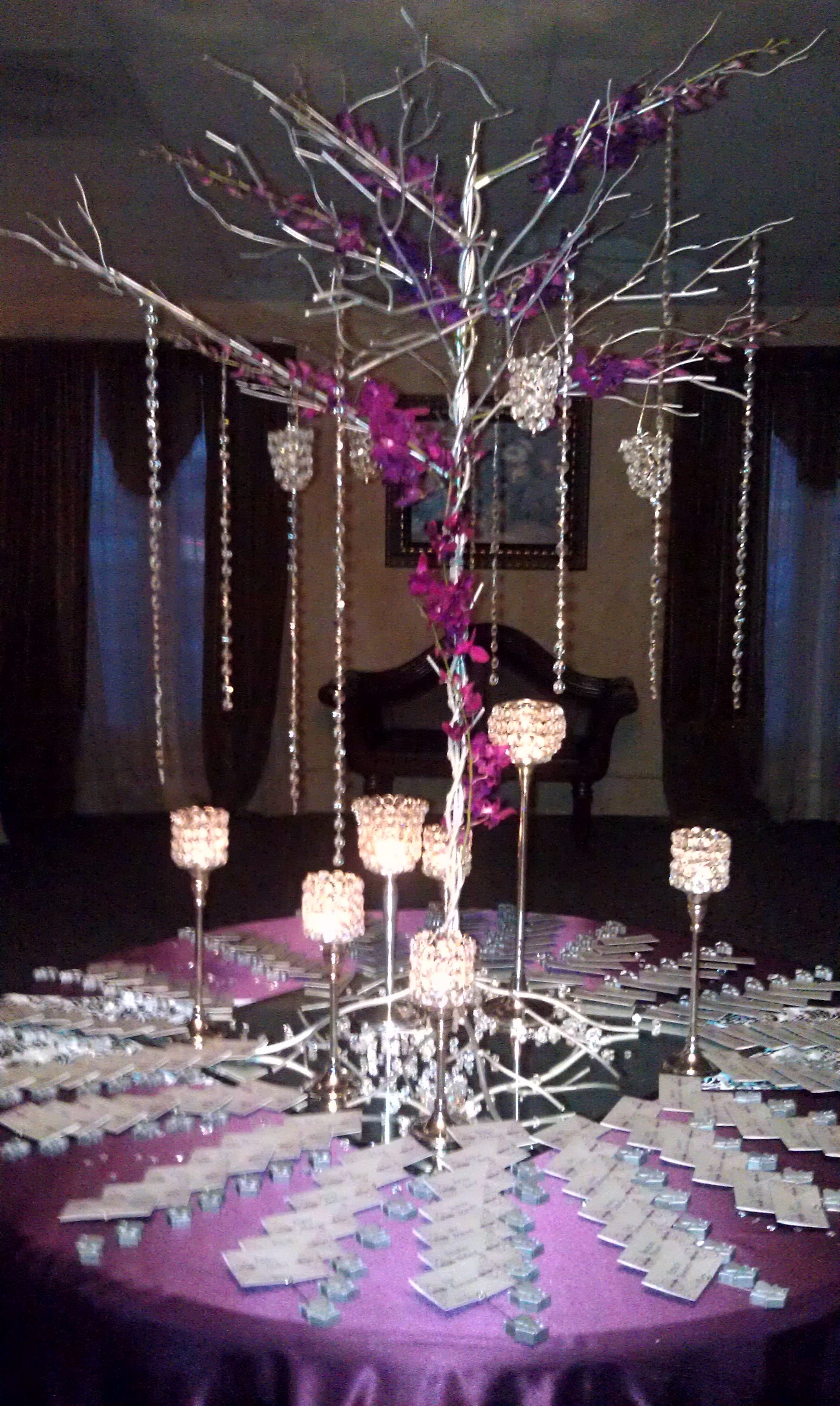 Entry Table With Escort Cards And Purple Orchids In Crystal