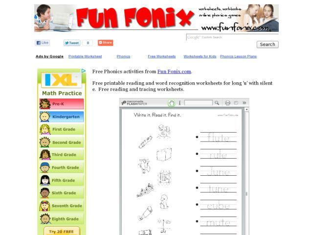 """Long """"u"""" With Silent """"e"""" Printing Practice Worksheet Worksheet 