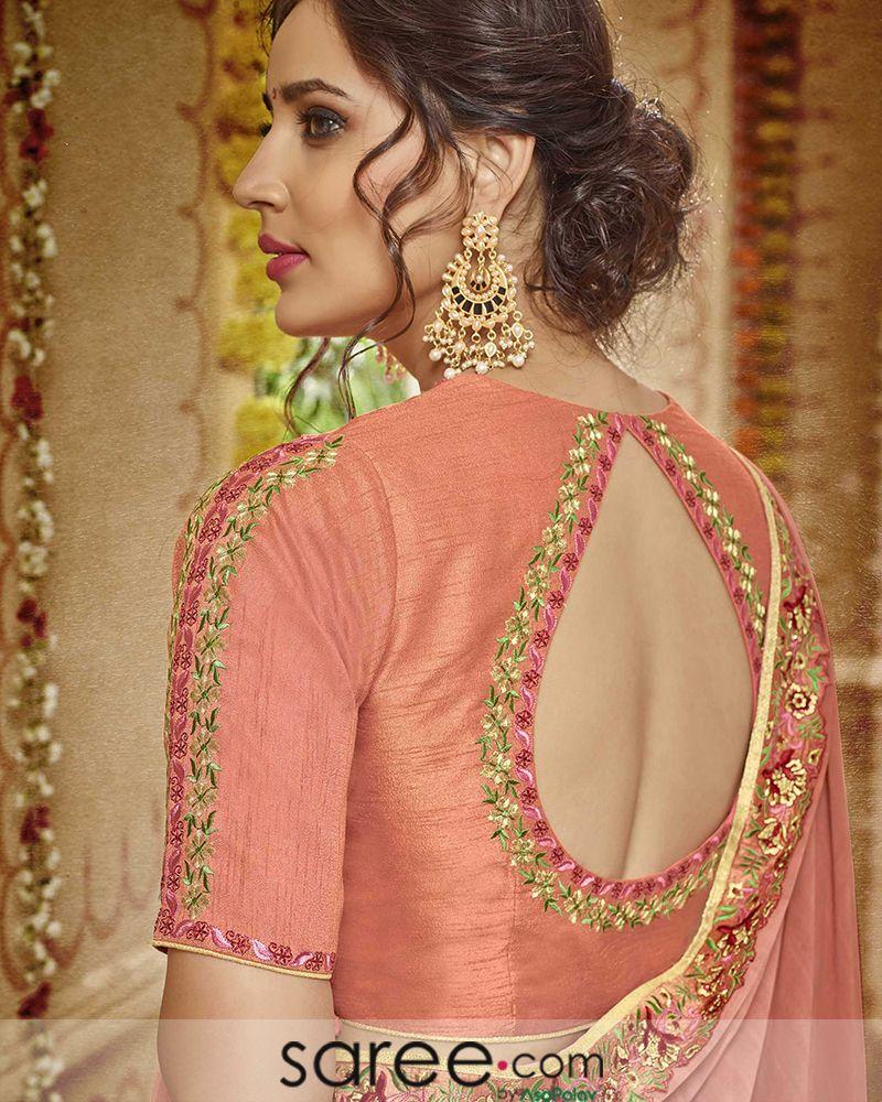 Peach Embroidered Keyhole Blouse Design Fashion Blouse Design Blouse Design Models Stylish Blouse Design