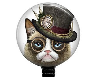 Steampunk Grumpy Cat | Personalized Badge Reel Retractable Badge by…