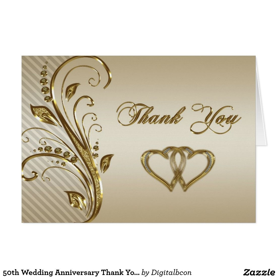 50th Wedding Anniversary Thank You Note Card Wedding Thank You