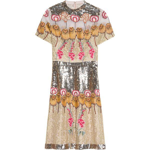 TEMPERLEY LONDON Farewell Mini Gold Mix // Decorated silk lace dress ...