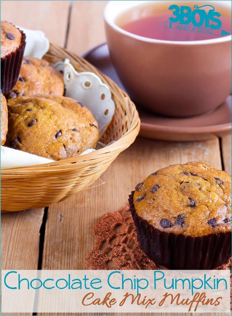 Chocolate chip pumpkin cake mix muffins recipe cake