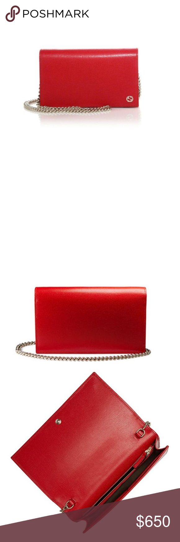 32a93887747 NWT GUCCI WOC Gucci Red New Betty Leather Chain Woc Black Cross Body Bag In  Wallet Gucci