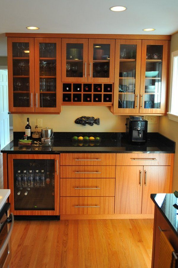 Kitchen Granite Countertops Ideas Part - 38: Small Kitchen Countertop Ideas Wood Cabinets Black Pearl Granite Countertop  Wood Flooring