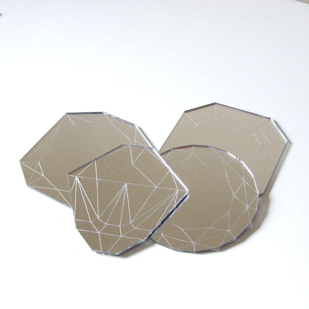 Mirror Jewel Coasters - Laser Cut Acrylic Set of Four Geometric Diamond Gems. $16.00, via Etsy.