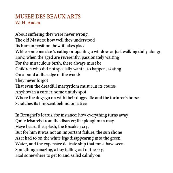 relationship between musee des beaux arts poem wh auden