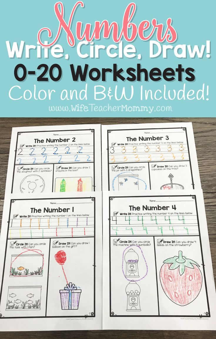Number Worksheets 0-20 (Counting Worksheets) Write, Circle, Draw ...