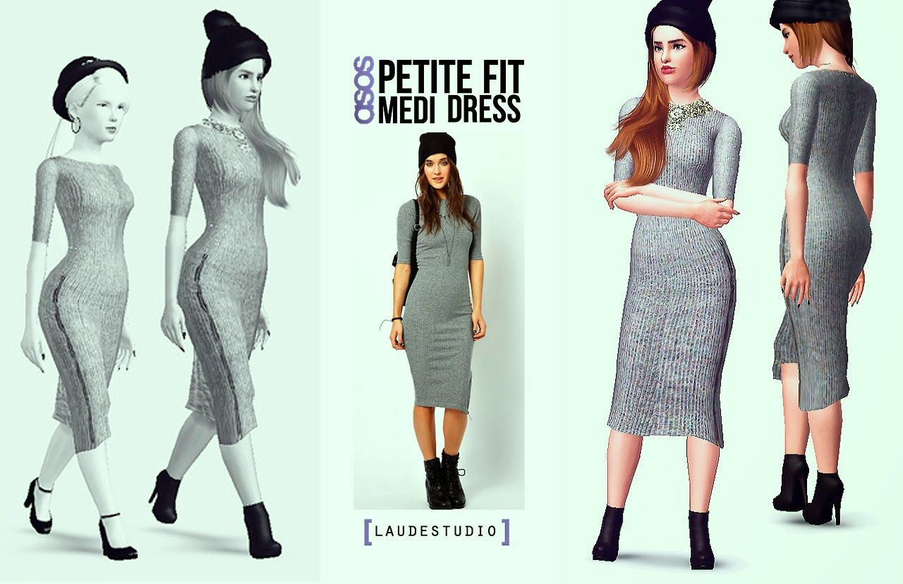 My Sims 3 Blog: asos Petit Fit Medi Dress for Teen & Adult ...