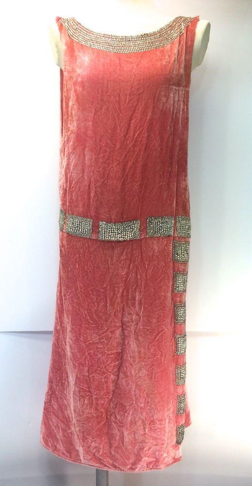 1920s Jean Patou Rhinestone & Coral Silk Velvet Haute Couture Flapper Dress #JeanPatou