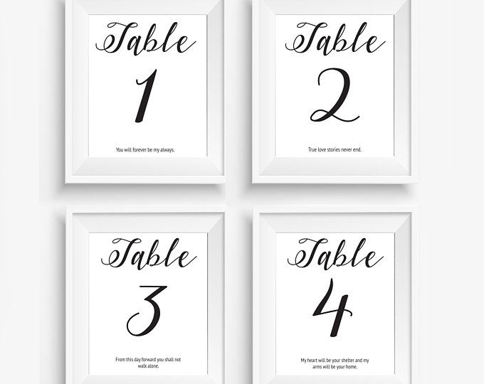 4x6 wedding table numbers with quotes table 1 4 pdf print your