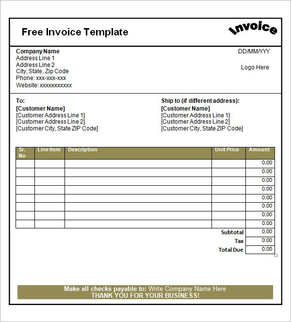 Basic Invoice Template Doc Sample Invoice Template Doc Invoice