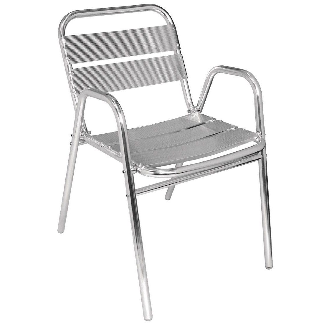 Bolero U501 Stacking Aluminium Chair With Arched Arms Pack Of 4
