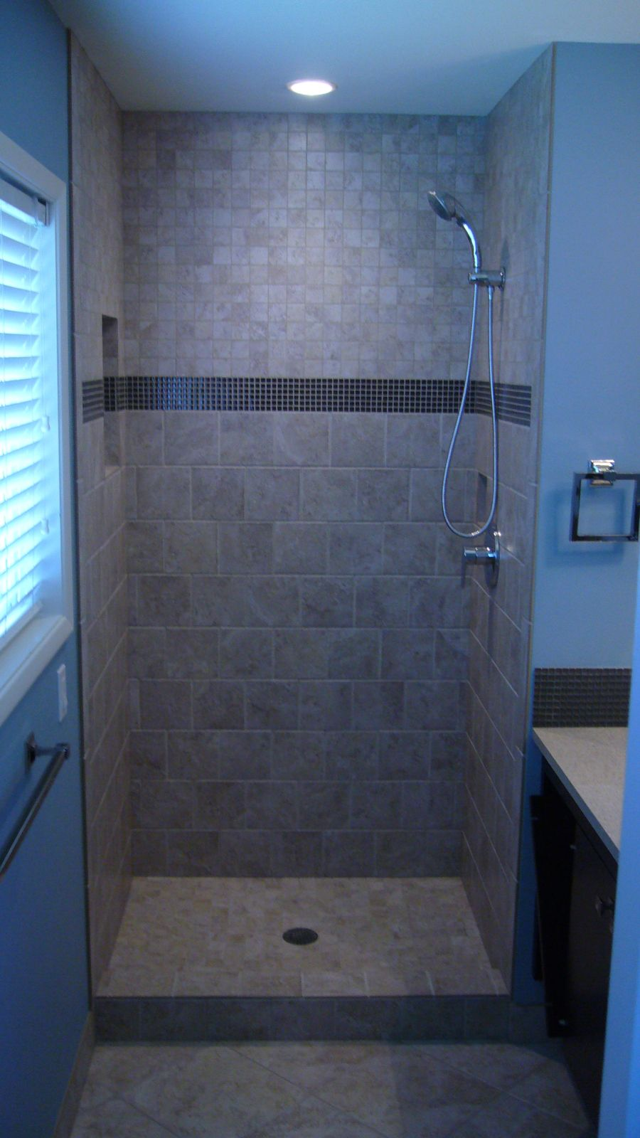 New Tiled shower stall | Building companies, Tile showers and Building